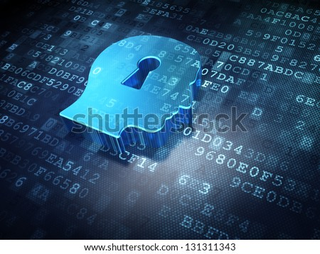 Data concept: Blue Head Whis Keyhole on digital background, 3d render - stock photo