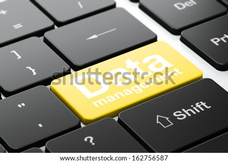 Data concept: computer keyboard with word Data Management, selected focus on enter button background, 3d render - stock photo