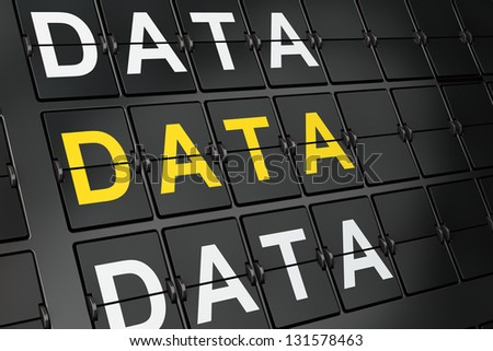 Data concept: Data on airport board background, 3d render - stock photo