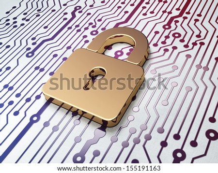 Data concept: Golden Closed Padlock on Circuit Board background, 3d render - stock photo