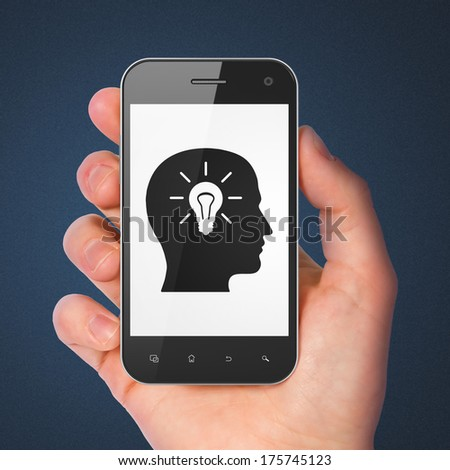 Data concept: hand holding smartphone with Head With Light Bulb on display. Mobile smart phone on Blue background, 3d render - stock photo