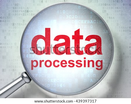 Data concept: magnifying optical glass with words Data Processing on digital background, 3D rendering - stock photo