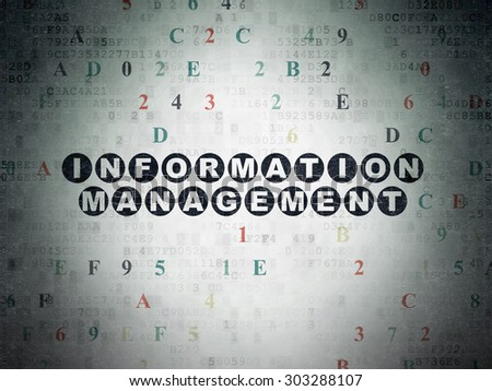 Data concept: Painted black text Information Management on Digital Paper background with Hexadecimal Code, 3d render - stock photo