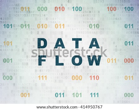 Data concept: Painted blue text Data Flow on Digital Data Paper background with Binary Code - stock photo