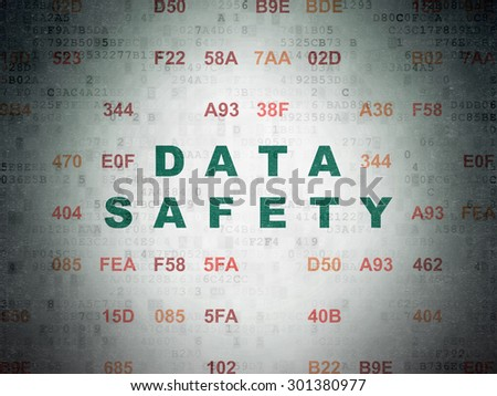 Data concept: Painted green text Data Safety on Digital Paper background with Hexadecimal Code, 3d render - stock photo