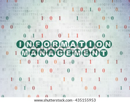 Data concept: Painted green text Information Management on Digital Data Paper background with Binary Code - stock photo