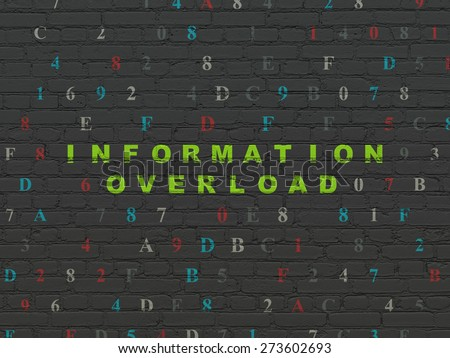 Data concept: Painted green text Information Overload on Black Brick wall background with Hexadecimal Code, 3d render - stock photo