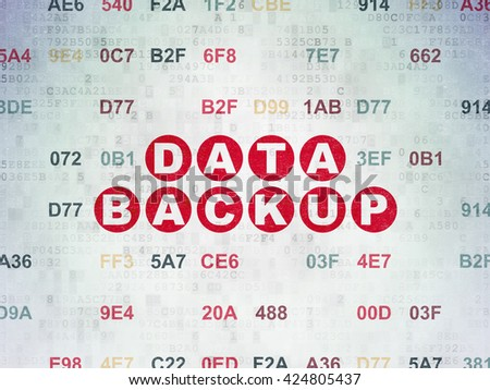 Data concept: Painted red text Data Backup on Digital Data Paper background with Hexadecimal Code - stock photo