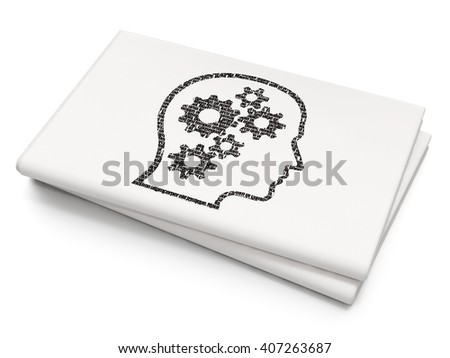 Data concept: Pixelated black Head With Gears icon on Blank Newspaper background, 3D rendering - stock photo