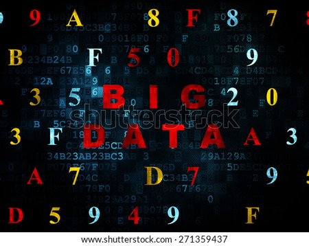 Data concept: Pixelated red text Big Data on Digital wall background with Hexadecimal Code, 3d render - stock photo