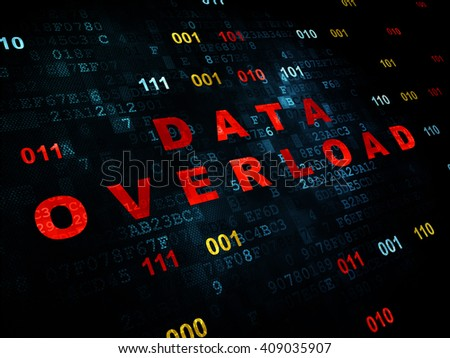 Data concept: Pixelated red text Data Overload on Digital wall background with Binary Code - stock photo