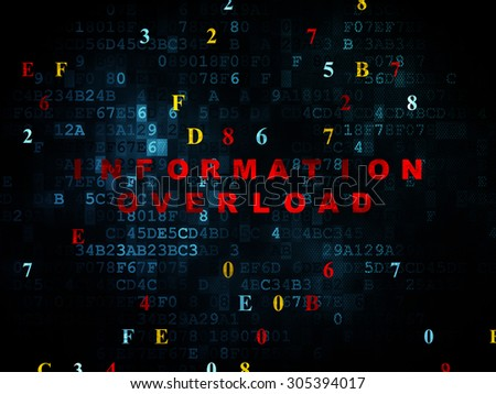 Data concept: Pixelated red text Information Overload on Digital wall background with Hexadecimal Code, 3d render - stock photo