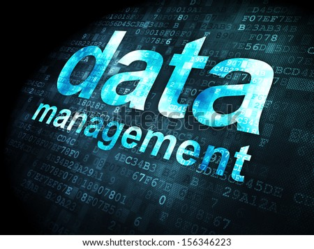 Data concept: pixelated words Data Management on digital background, 3d render - stock photo