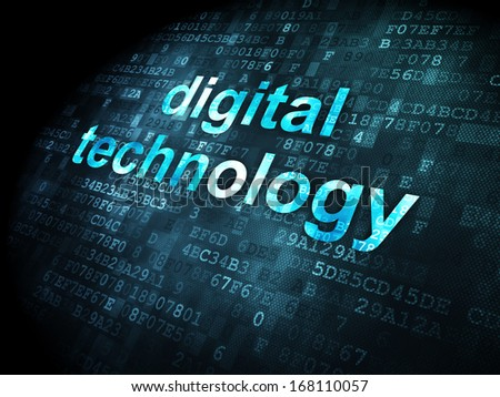 Data concept: pixelated words Digital Technology on digital background, 3d render - stock photo