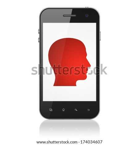 Data concept: smartphone with Head icon on display. Mobile smart phone on White background, cell phone 3d render - stock photo