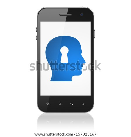 Data concept: smartphone with Head With Keyhole icon on display. Mobile smart phone on White background, cell phone 3d render - stock photo