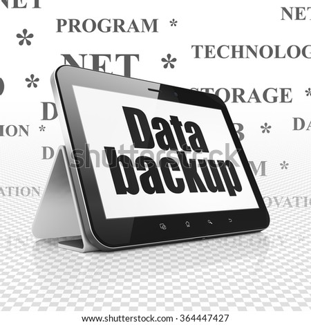 Data concept: Tablet Computer with Data Backup on display - stock photo