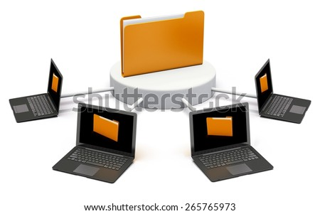 Data. 3D. Folder connected to computer network - isolated with clipping path - stock photo
