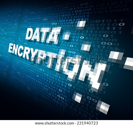 Data encryption concept as the word for internet security being pixelated and encrypted to become protected private information stored on the cloud or secure server. - stock photo