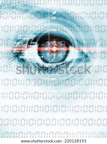 Data eye with laser ray - stock photo
