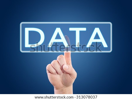 Data - hand pressing button on interface with blue background. - stock photo