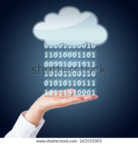 Data in the form of digital zeros and ones are flowing between an empty cloud and an open palm of a business person. Metaphor for mobile computing and data exchange. Dark blue gradient background. - stock photo