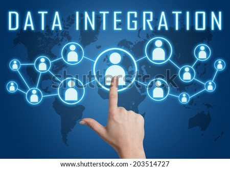 Data Integration concept with hand pressing social icons on blue world map background. - stock photo