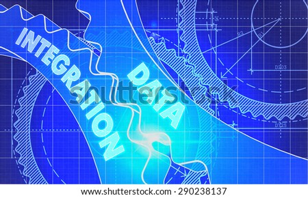 Data Integration on Blueprint of Cogs. Technical Drawing Style. 3d illustration with Glow Effect. - stock photo
