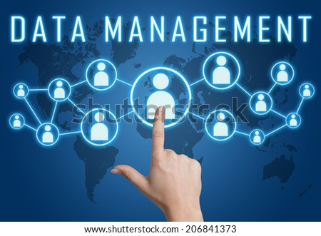 Data Management concept with hand pressing social icons on blue world map background. - stock photo