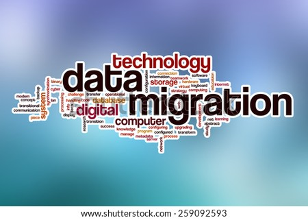 Data migration word cloud concept with abstract background - stock photo