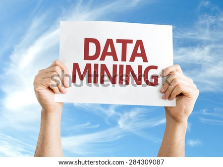 Data Mining card with sky background - stock photo