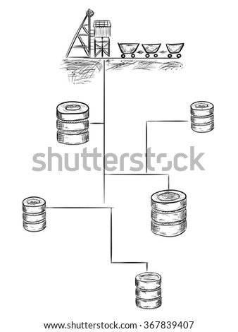 Data mining sketch illustration - stock photo