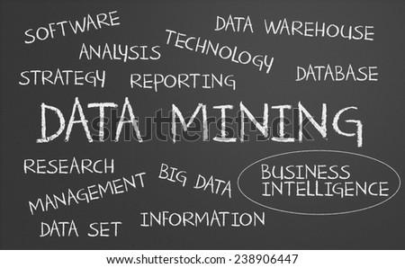 Data mining word cloud written on a chalkboard - stock photo