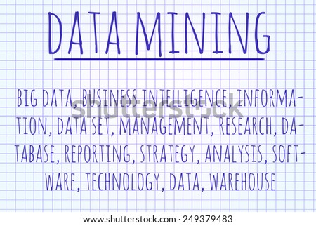 Data mining word cloud written on a piece of paper - stock photo