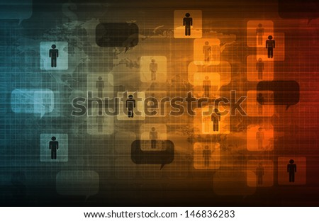 Data Network on a Corporate System as Art - stock photo