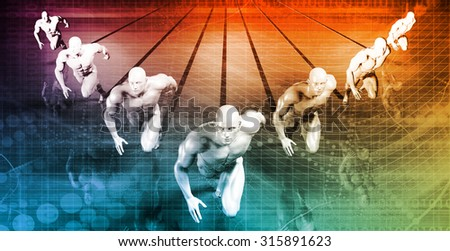 Data Network with Fast Moving Data Packets - stock photo