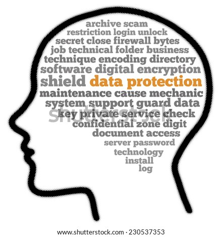 Data protection in words cloud - stock photo