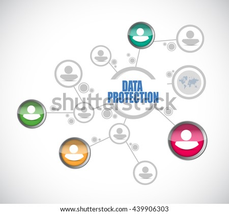 Data Protection network sign illustration design graphic - stock photo