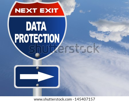Data protection road sign - stock photo