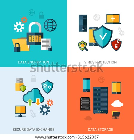 Data protection set with encryption secure exchange storage flat icons isolated  illustration - stock photo
