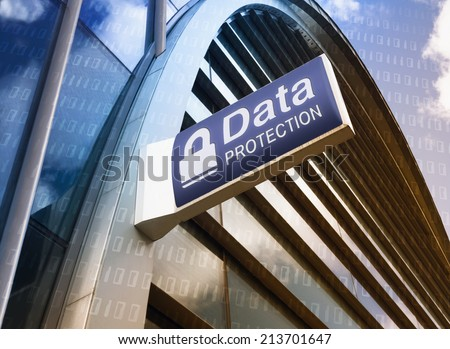 Data Protection sign on the exterior of a building. - stock photo