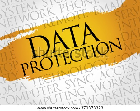 Data protection word cloud concept - stock photo