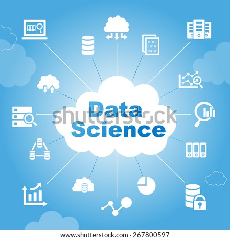 Data Science concept with icons - stock photo