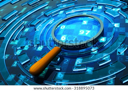 Data search, computer security and information technology concept, magnifying glass on blue background with digital code - stock photo