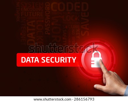 Data security.Businessman presses a button on the virtual screen. Business, technology, internet and networking concept. - stock photo