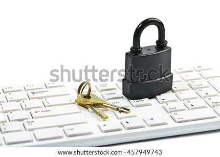 Data security concept with padlock and key on computer keyboard over white - stock photo