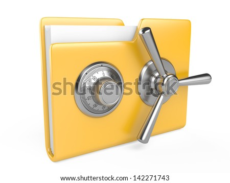 Data security concept. Yellow folder and combination Lock. 3D image isolated on white - stock photo
