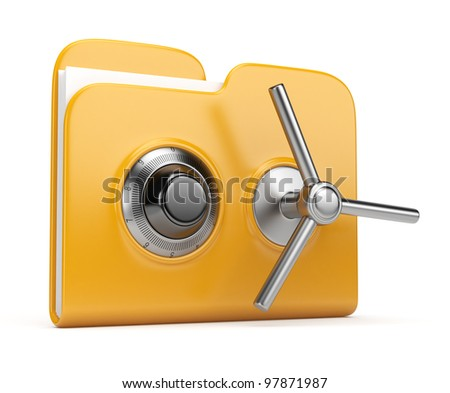 Data security concept. Yellow folder and lock. 3D isolated on white - stock photo