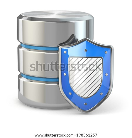 Data security. Database and shield on white isolated background. 3d - stock photo