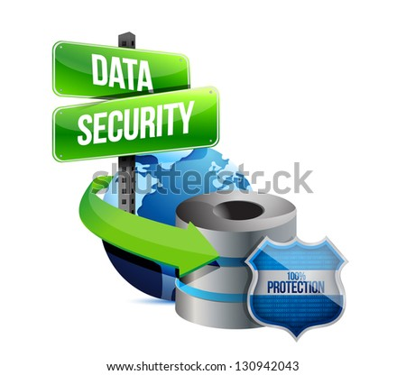 data security global communications concept illustration design over white - stock photo